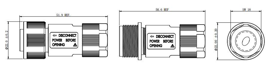EC-M: IP68 Waterproof Cable Connector-D1