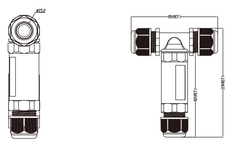 IP68 Waterproof 3-Pole T-Splitter Connector-D1