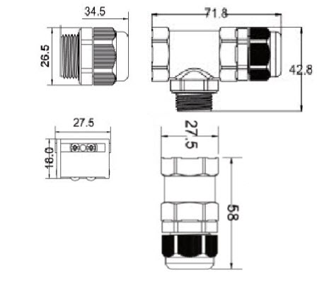 ST-07 IP68 Waterproof T-Splitter Connector-D