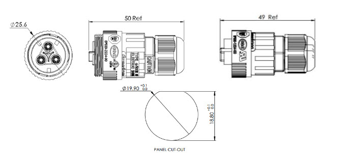 ST-10 Waterproof Cable Connector dimension