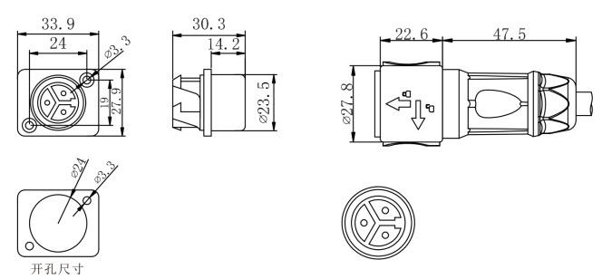 ST-12 ST-12: Waterproof Panel Mount Connector dimension