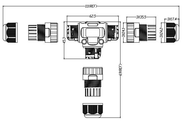 ST-17 Waterproof T Cable Connector with Lever Lock Design
